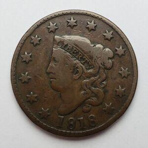 1818 Coronet Head Large Cent Fine+ Die Crack N-6 Rim Dent
