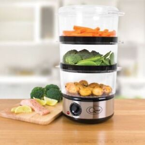 NEW-3-TIER-STAINLESS-STEEL-ELECTRIC-FOOD-VEG-6-LTR-STEAMER-400W-TIMER-RICE-FISH