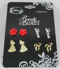 Disney Beauty And The Beast Post Insertion Earrings 4 Pair Pack Stud Drop Dangle