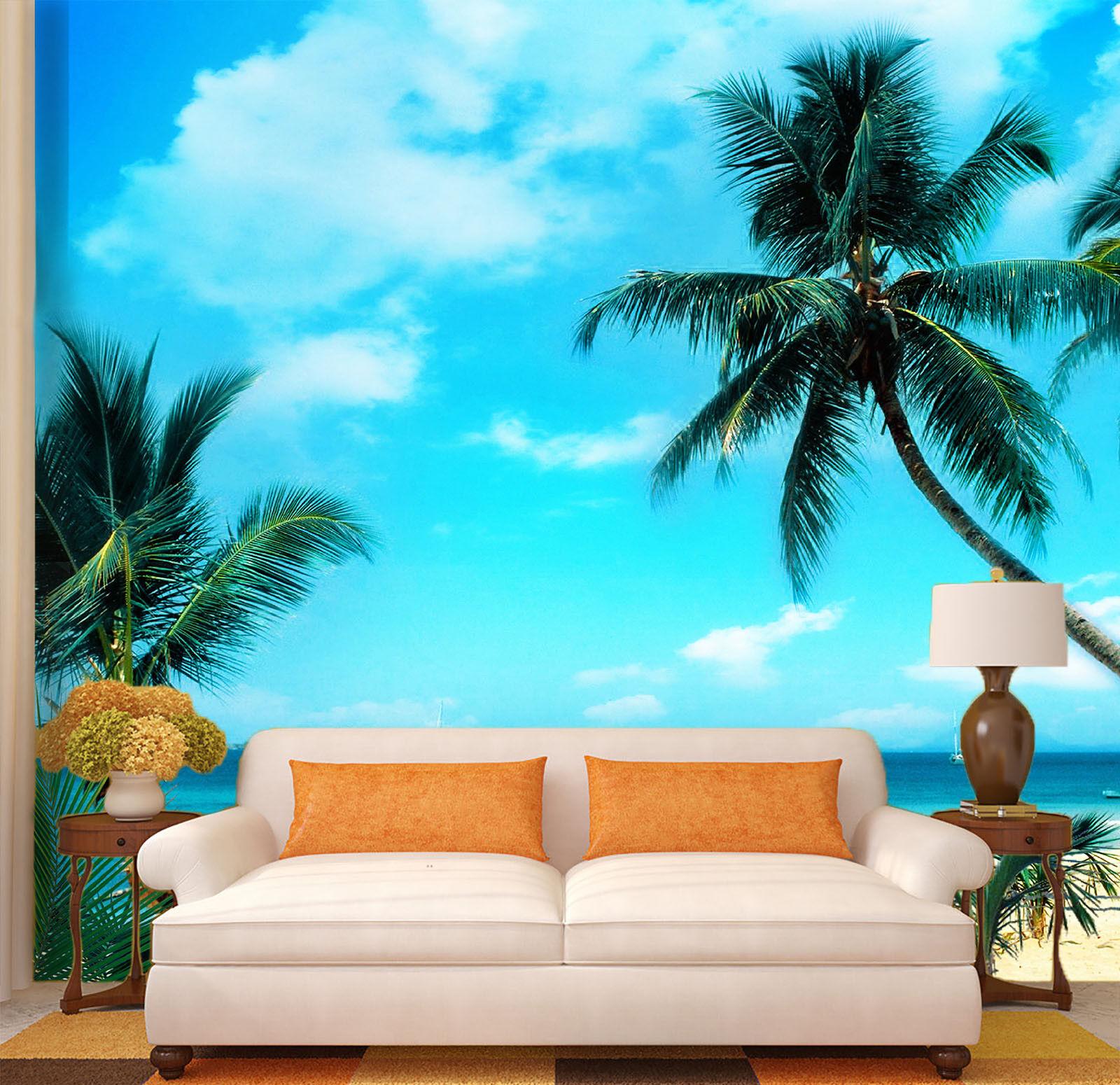 3D Plam Sky 4277 Wallpaper Murals Wall Print Wallpaper Mural AJ WALL UK Lemon