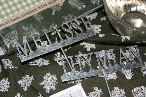 * Set aus 9 Kräuterstecker Gartenstecker Metall Stecker  Zink Silber Grau