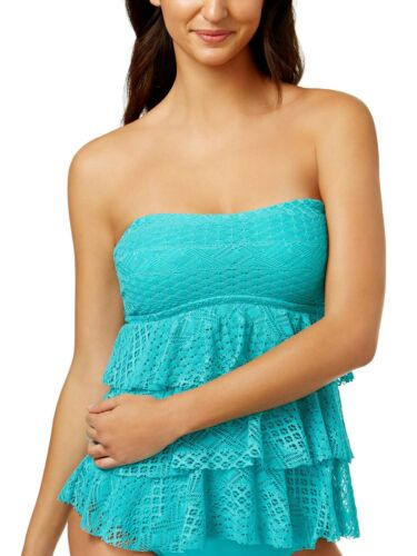 Island Escape Womens Sky Above Tiered Crochet Tankini Top 8 Turquoise Swimsuit