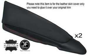 RED STICH 2X FRONT DOOR CARD TRIM LEATHER