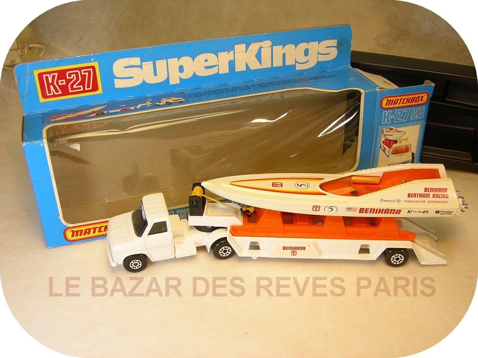Matchbox super kings gb. ford semi door boat  + box  Nouvelle liste