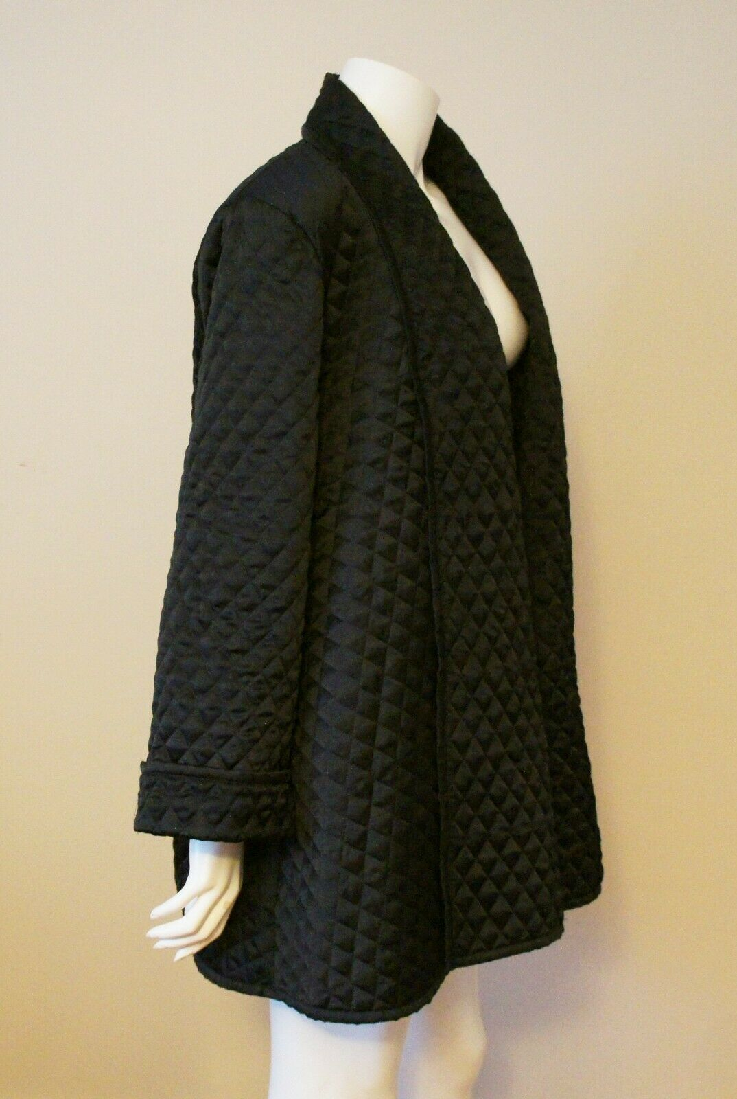 Auth Amen Wardy Black Quilted Open Jacket Sz M - image 2