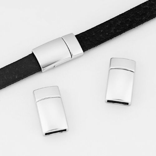 5//200Sets Matte Silver 10x3mm Flat Magnetic Clasps For 10mm Flat Leather Cord