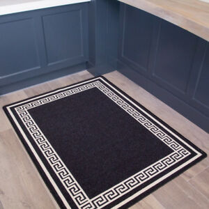 Details about Black Non Slip Border Small Runner Mats Easy Clean Machine Washable Kitchen Rugs & Details about Black Non Slip Border Small Runner Mats Easy Clean Machine Washable Kitchen Rugs