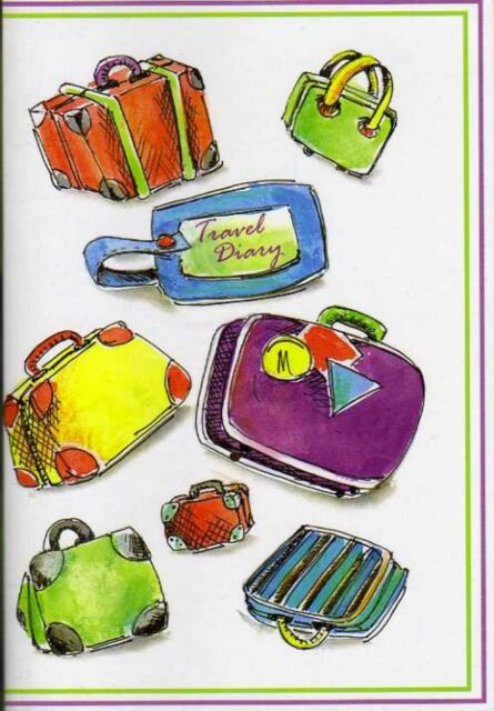 TRAVEL DIARY Journal World Maps Trip Holiday A5 Slipcover Checklist  Luggage New