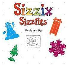 Sizzix Doodle Sizzlits SNOW SET 4 Dies Sled RETIRED!!!