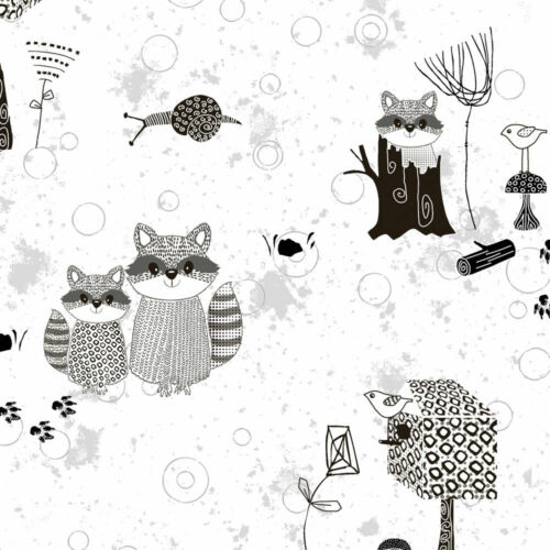 Per 1//4 Metre Stof Quilting Fabric Rocky Raccoon 4500-914