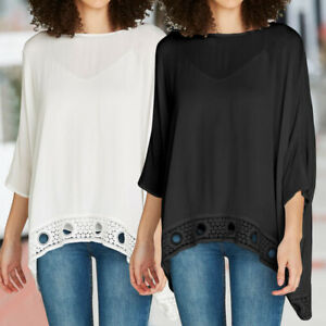 Women-Lace-3-4-Sleeve-Loose-Tops-Tunic-Shirt-Ladies-Batwing-Blouse-Top-Size-8-26