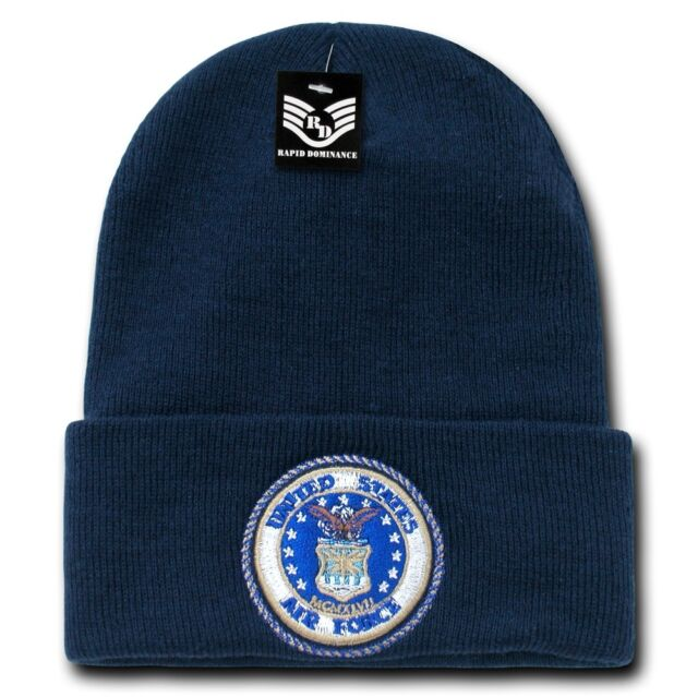 United States Air Force USAF Seal Embroidered Military Beanie Skull Knit Cap Hat