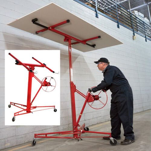 Profession Mobile 11ft Drywall Hoist Plasterboard Lifter Caster Panel Sheet Lift