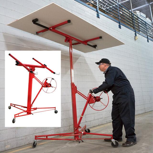 11 FT Caster Drywall Lift Plaster Board Panel Hoist Jack Rolling ...