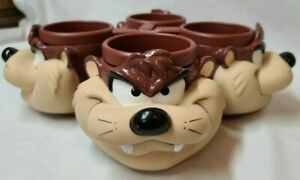 VTG-Warner-Brothers-1992-Looney-Tunes-Taz-Tazmanian-Devil-3-D-Mug-Cup-Set-of-4