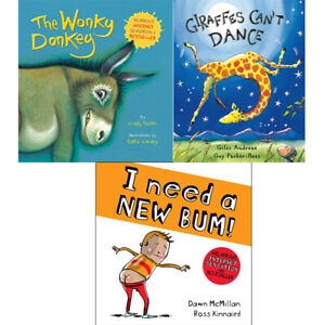 Wonky-Donkey-Giraffes-Can-039-t-Dance-amp-I-Need-a-New-Bum-3-books-collection-set