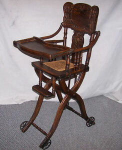 Antique Oak Folding Up And Down High Chair And Or Stroller