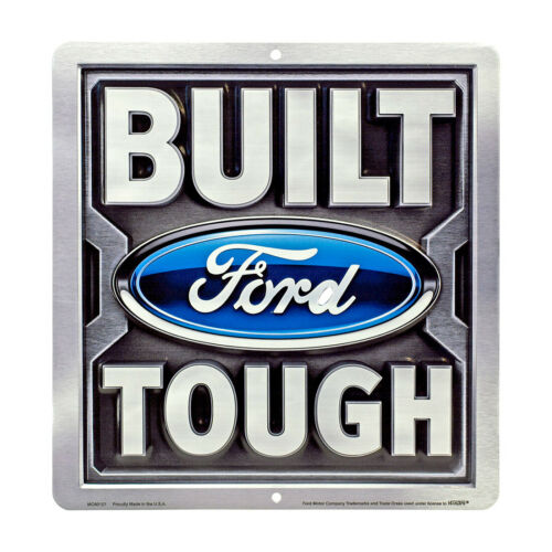 """Built Ford Tough Sign tin metal Powerstroke Diesel 4x4 12/"""" square sign"""