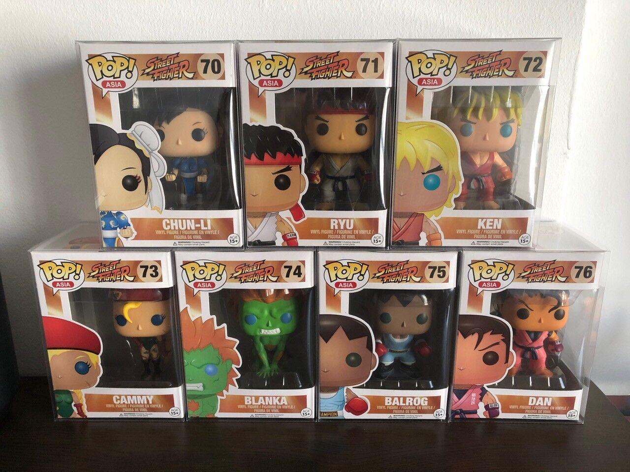 Funko Pop Street Fighter Complete Series 1 Conjunto de 7 Chun-Li Ryu Ken Cammy Blanka