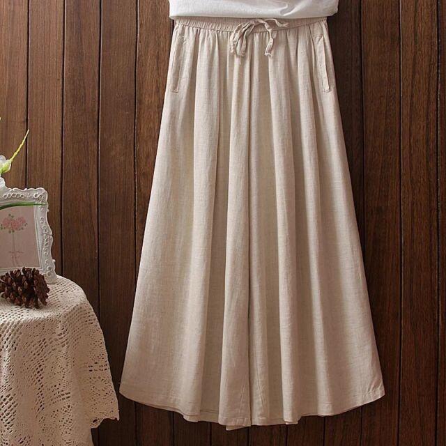 Women Ladies Linen Pants Culotte Casual Loose Baggy Wide Leg Trousers Vintage