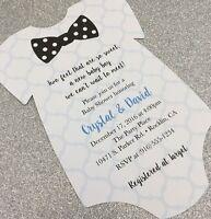 20 Baby Boy With Polka Dot Bow Tie Onesie Baby Shower Invitation