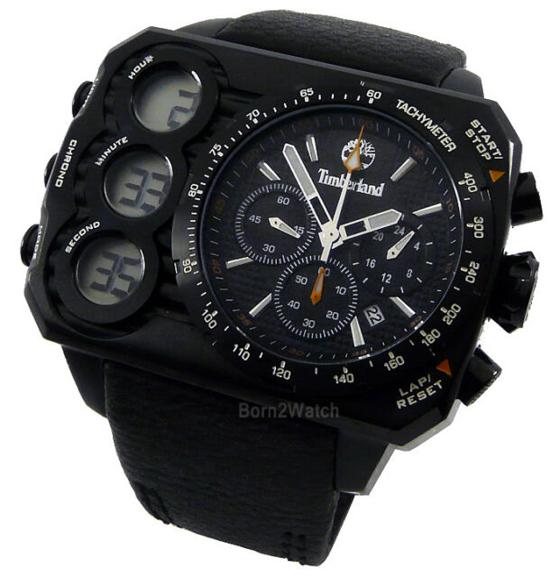 TIMBERLAND MEN CHRONOGRAPH ALARM DIGITAL-ANALOG 62mm LEATHER TBL.13673JSB/02