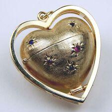 Red & Blue Gem 3-D  Heart Shaped Locket / Pendant 14 kt Yellow Gold #A1214