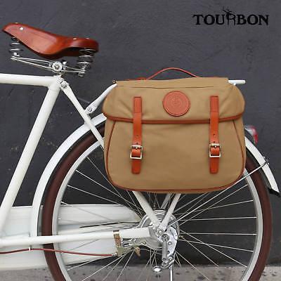 Tourbon Waterproof Commuter Bike Laptop Pannier Set Canvas Rear Pack Carrier