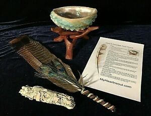 COMPLETE-SMUDGE-KIT-ABALONE-SHELL-STAND-SAGE-FEATHER-ENERGY-CLEANSING-CLEARING