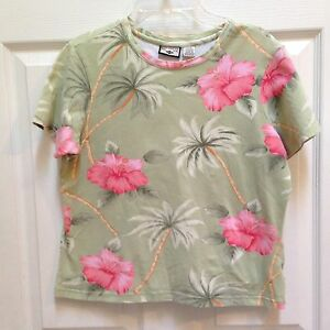 Caribbean-Joe-Top-size-Medium-Green-amp-Pink-Hibiscus-Cruise-Hawaiian-shirt