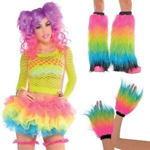 Adult-Rainbow-Electric-Party-Fancy-Dress-Neon-Club-Rave-Warmer-Fluffy-Fur-Pony