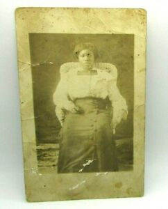 c-1910-African-American-Woman-Seated-Wicker-Chair-RPPC-Real-Photo-Postcard