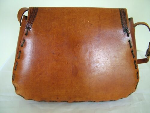 Satchel Saddle Tooled Hide Artisanal Vintage 70s Shoulder Brown Bag Mid Leather 0Bf86
