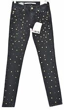 NEW £60 Topshop Moto SKINNY Low Rise BLACK Studded Jeans Size 8 W26 L32