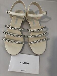 3572784c3412e Details about NIB Chanel 18P Ivory Silver Chain CC Gladiator Strap Mule  Slide Flat Sandal 36