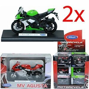 SET-OF-2-DIE-CAST-MOTORCYCLE-MOTORBIKE-MODEL-1-18-COLLECTOR-WELLY-KIDS-FUN-NEW