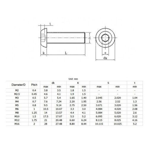 HIGH TENSILE 10.9 BUTTON HEAD DOME HEAD SCREW M8M10 ALLEN KEY SOCKET BOLT METRIC