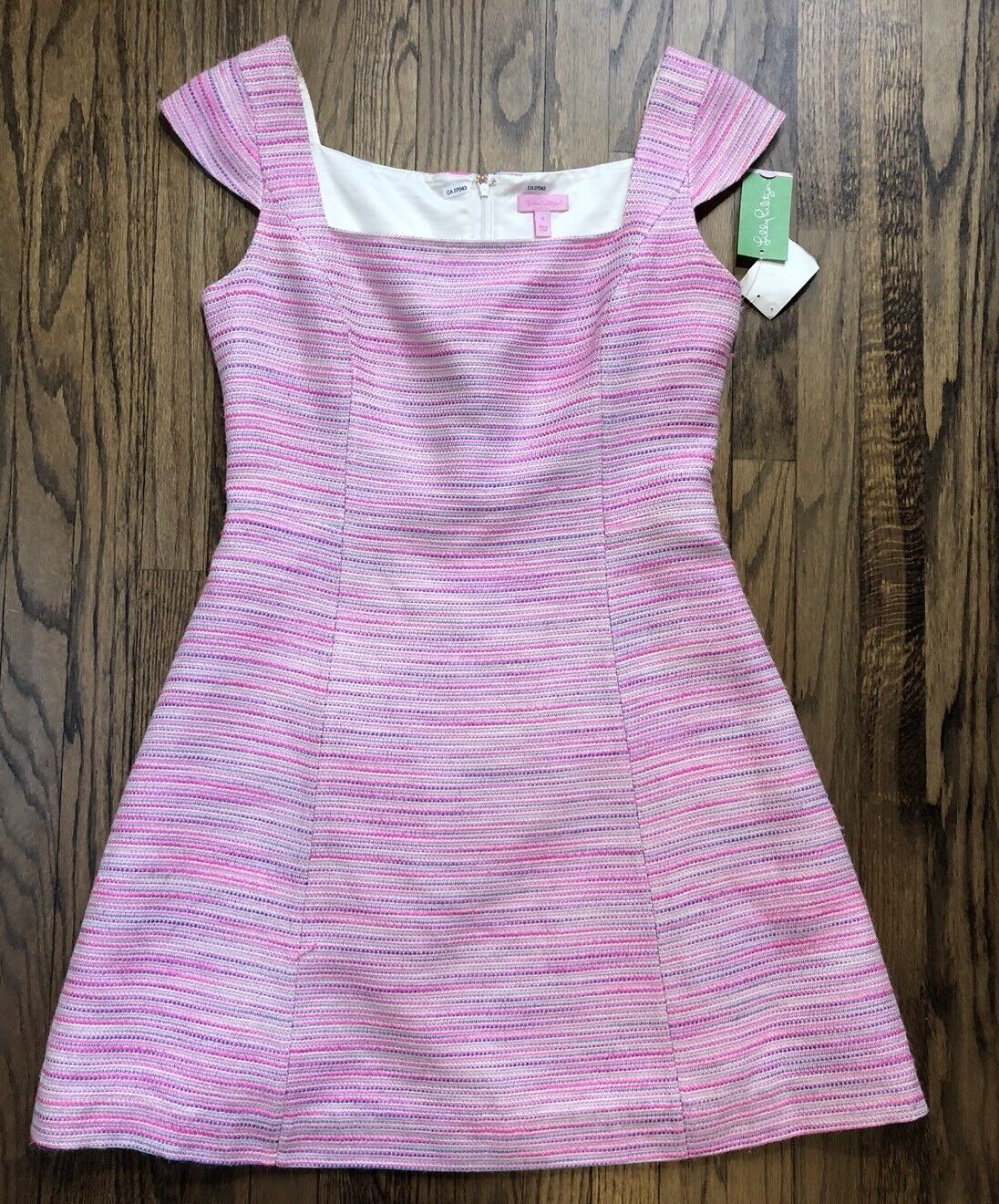 NWT MSRP  348 Lilly Pulitzer Womens York Dress Barnard Boucle Pop Pink Size 14