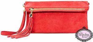 ladies-coral-suede-tassel-clutch-bag