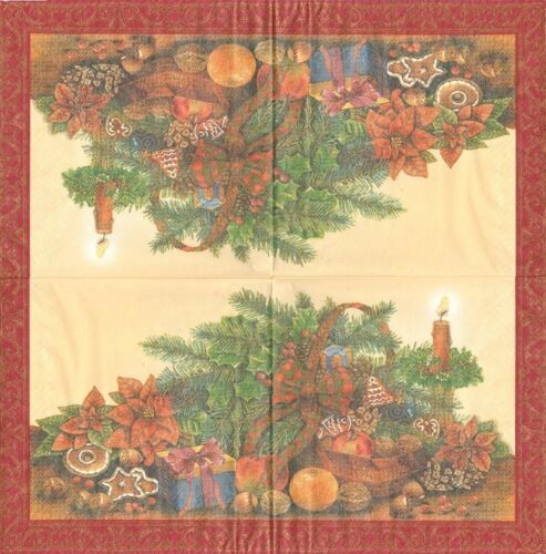 Lot de 2 Serviettes en papier Panier de Noël Decoupage Collage Decopatch