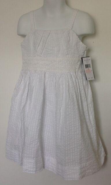 677a1e81fdf Ralph Lauren Girls Dress White Seersucker Lace Inset Sleeveless Lined Sz 7  NWT