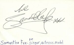 Details about Samantha Fox Actress Model Singer Pop Music Autographed  Signed Index Card