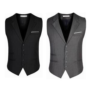 Men-039-s-Trendy-Botton-Formal-Business-Slim-Fit-Dress-Vest-Suit-Tuxedo-Waistcoat