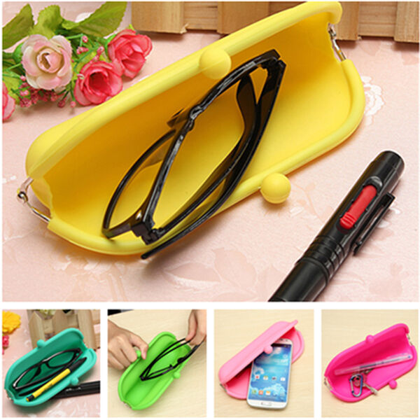 Silicone Spectacle Bag Glasses Soft Cover Pen Case Coin Wallet Purse Pouch Gift