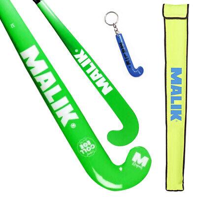 "College Green Wooden Outdoor MALIK Field Hockey Stick J Turn Curve 32/"""