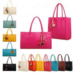 4536e4a727ab Details about Candy Color Women Fashion Leather Handbag Shoulder Bag Ladies  Flowers Purse Tote