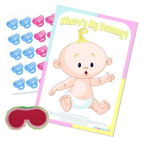 Party Fun Blindfold UNISEX Wheres the Pacifier Pin the Dummy Baby Shower Game