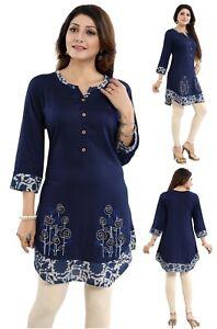 Blue-Rayon-Designer-Embroidery-Tunic-Women-Indian-Kurti-Tunic-Shirt-Dress-BD415