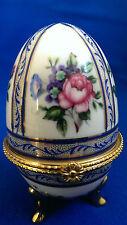 """Porzellan Ei Dose florales Dekor Staffordshire Knot """"OC & Co"""" und Krone"""