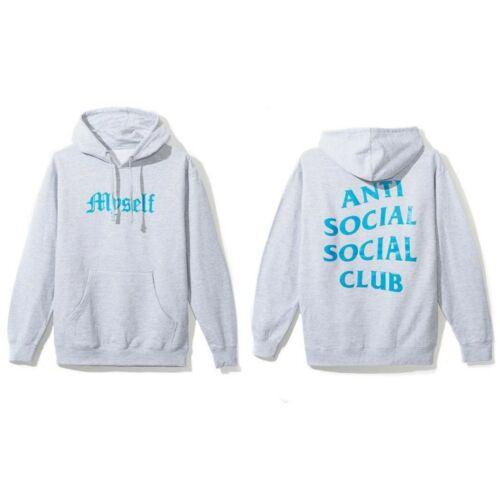 Anti Social Social Club ASSC Blue Logo Myself Grey Hoodie Gray in hand